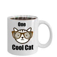 One Cool Cat-Funny Cat-Classic Novelty Coffee Mug-Cat Lovers Owners- Custom Tea Cup Women