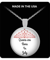 Born In July Silver Round Birthday Pendant Necklace Gifts For Mother Day Horoscope Zodiac