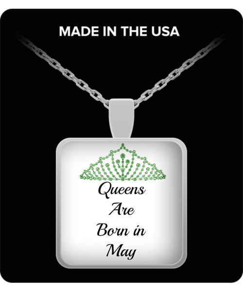 Queens Are Born In May-Round Silver Pendant Birthday Necklace-Birthday-Mothers Day-Jewelry