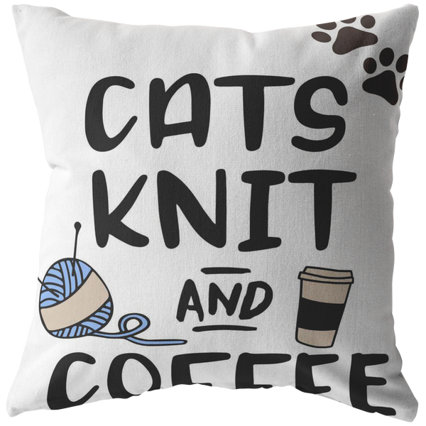 Cat Knit and Coffee Throw Pillow  Custom Throw Pillow  Cat Lovers Owners Gift  Crazy Cat Lady Knitters