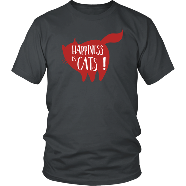 Happiness is Cats! T-shirt Cat Lady Cat Dad Mom Gift Custom T shirt for Her Him Funny Shirt