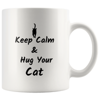 Cat Coffee Mug Cat Lover Gift  Cat Mom Cat Dad Hug your Cat Custom Mug  Birthday gift