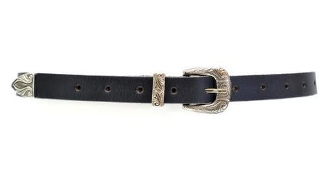 Bina Belt Black Silver Buckle