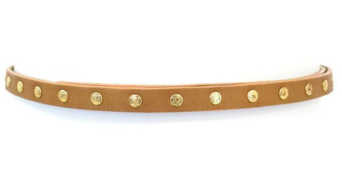 ADA Cala Belt skinny tan with gold studs