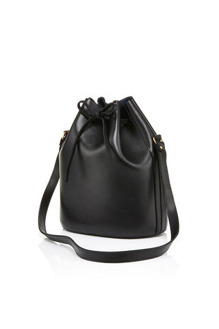 Classic Drawstring black leather bag