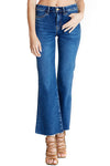 Lou from M.i.h Jeans in medium wash. Fits slim through thigh and flares from knee, fray cropped hem.