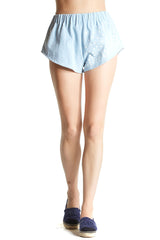 The Brydie Shorts from Sir The Label features a light denim wash with white embroidered star details