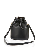 BAIA Small Drawstring Leather Bag in Black