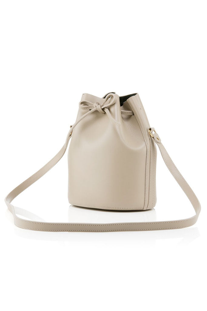 BAIA Small Drawstring Leather Bag in Biscuit