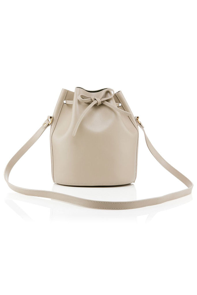 BAIA Mini Drawstring Leather Bag in Biscuit