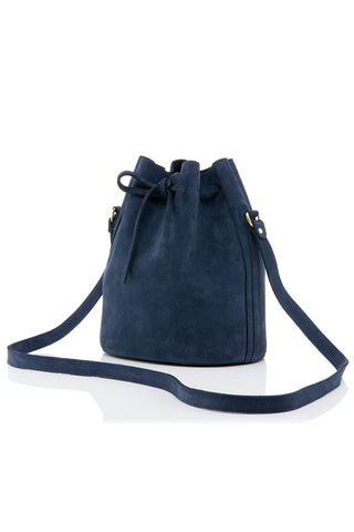 Small Drawstring Suede Bag in Navy