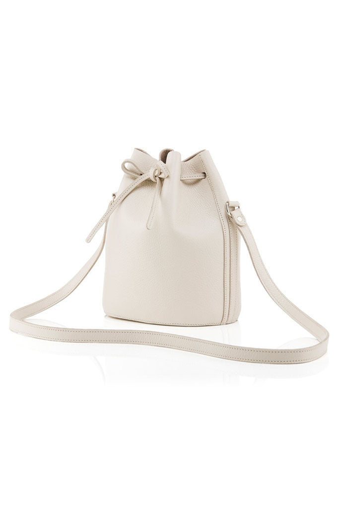 BAIA Small Drawstring Leather Bag in Sand