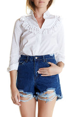 Indigo Zed Boyfriend Short, dark blue ripped denim shorts