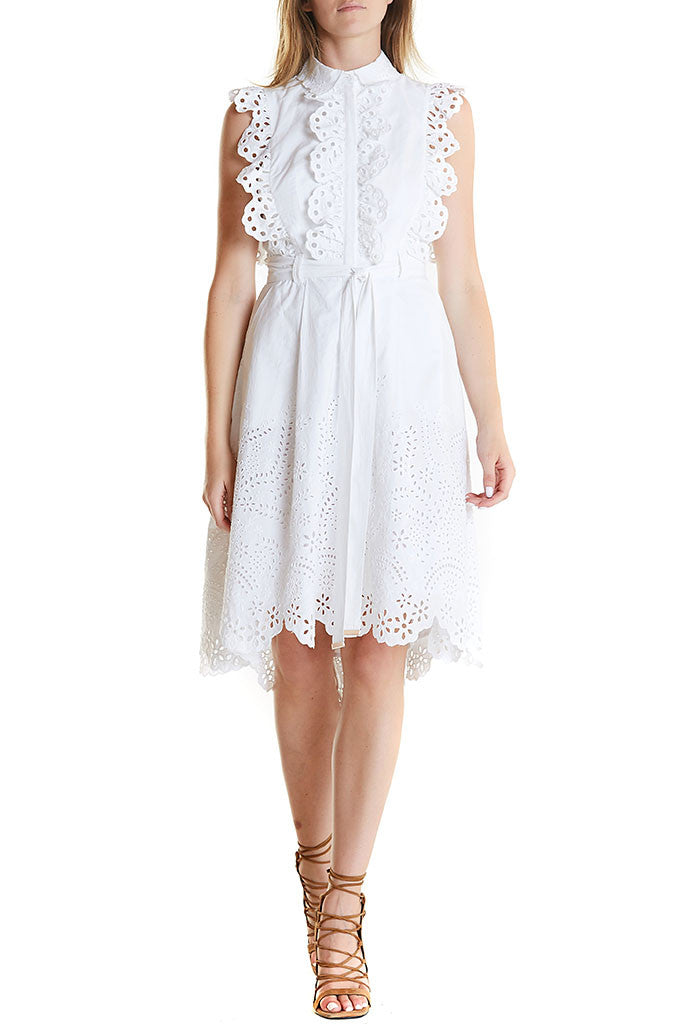 Lady Leila Dress from Aje, a white shirt dress midi length that ties at waist. No sleeves