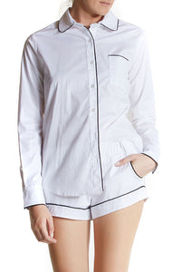 Sydney Blouse from Maison Du Soir, a white pajama set with black piping
