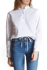 White draw shirt from m.i.h jeans in cotton with a pleated collar and a drawstring hemline