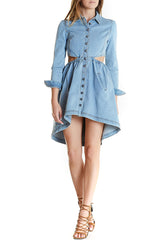 Billy Jean Dress Denim Mini Dress Front Buttons