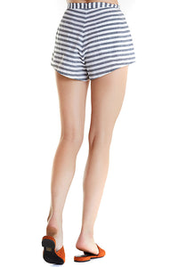 trail short from Zulu & Zephyr, blue and white striped high waisted shorts with flat waistband