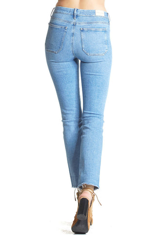 Light blue denim jeans from m.i.h jeans. Slim fit and raw hem