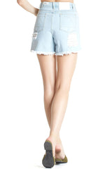 Sunlight Boyfriend Shorts from Zulu & Zephyr, light washed denim shorts with frayed leg opening