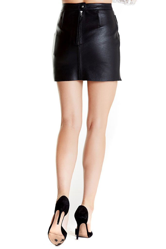 Shrimpton Mini skirt from Aje, a black mini leather skirt with buttons in front