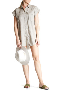 Coast Button Up Tunic Natural, Short cuff sleeves