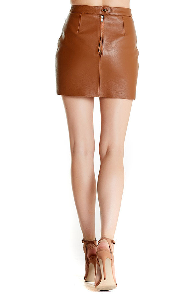 Shrimpton Mini skirt from Aje, a tan mini leather skirt with buttons in front