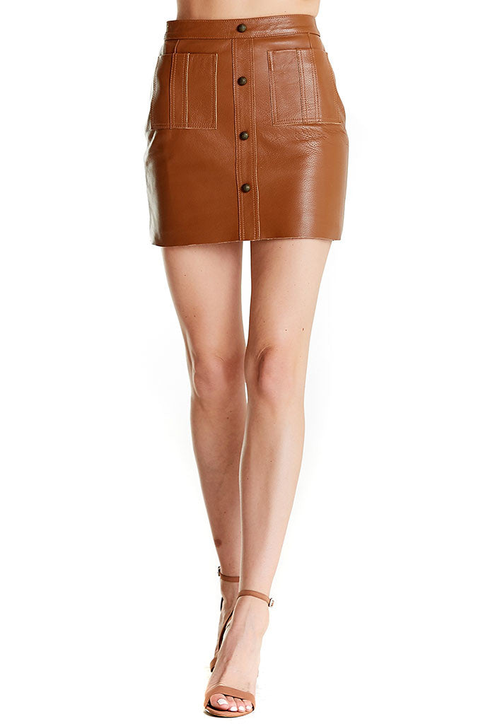 1dd62862e Shrimpton Mini skirt from Aje, a tan mini leather skirt with buttons in  front