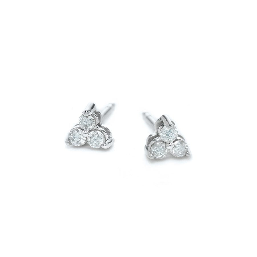 Diamond Cluster Post Earrings Silver