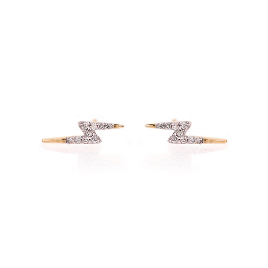 Tiny Pave Lightning Bold Posts Earrings 14K