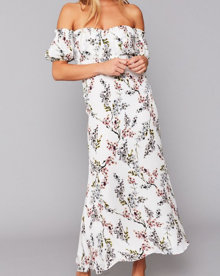 Off the shoulder maxi dress in white floral from Stone Cold Fox
