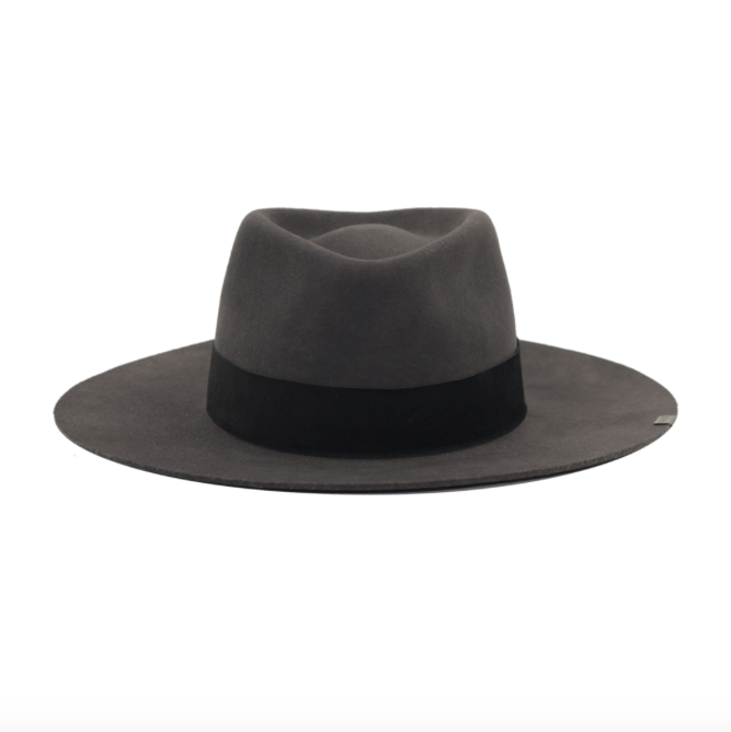 The Abella hat from Kin The Label, a gray felt hat, is made of cruelty-free virgin wool.