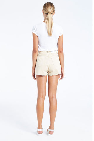 The Sandy Beige Denim Shorts by Zulu & Zephyr features a high waist and a raw hem.