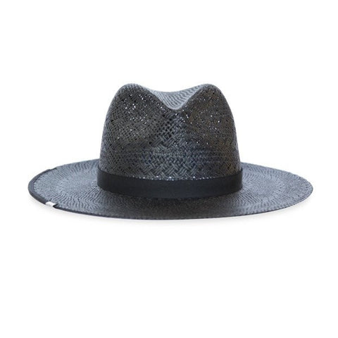 Kin/K Carlton Black Straw hat with black binding around the brim
