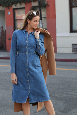 Lou Lou Dress from M.i.h Jeans, a jean shirt dress featuring buttons down the front. fitted waist.