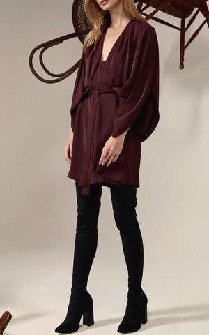 Wine red butterfly sleeve mini dress from Acler