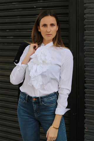Amber Caplan White Blouse with ruffle front from Guglielminotti