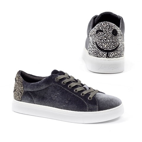 The Reno grey velvet sneakers from Lola Cruz features a winkey face made of rhinestones.