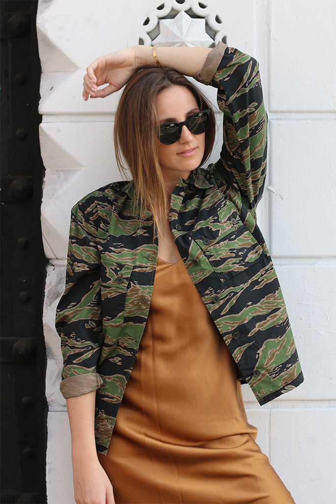 Tiger Camo Shirt from M.i.h Jeans is a camouflage shirt with buttons and long sleeves