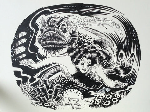 Mermaid original b&w art