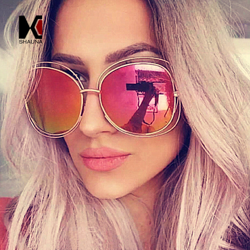 Fashion Oversize Oval Wire Women Sunglasses