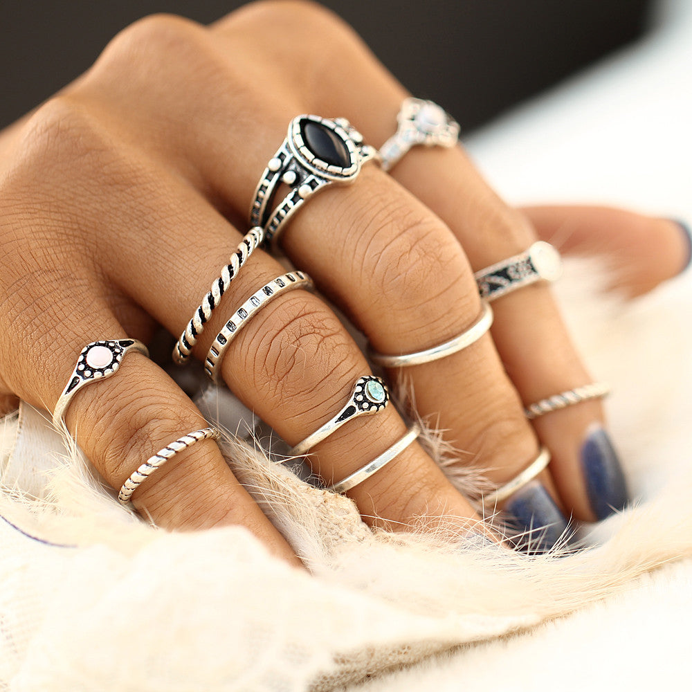 12pc / Ring Set Gold/Antique Silver Bohemian Style Midi Rings