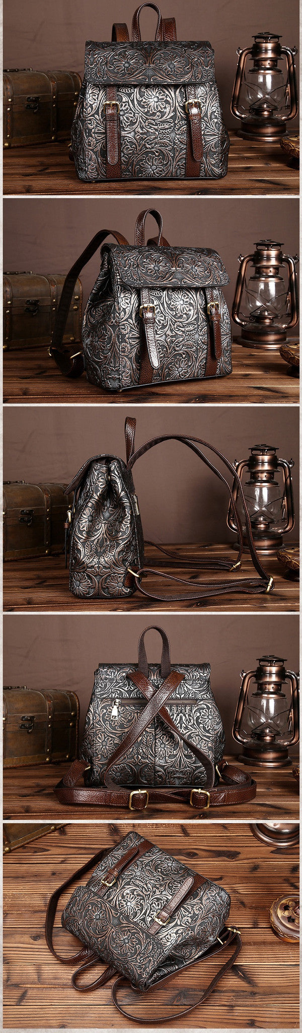 Women Embossed Flower Backpack Genuine Leather Shoulder Bag