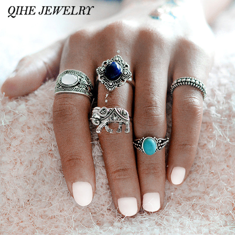 5pcs/set Bohemian Style Turquoise Midi Ring Set