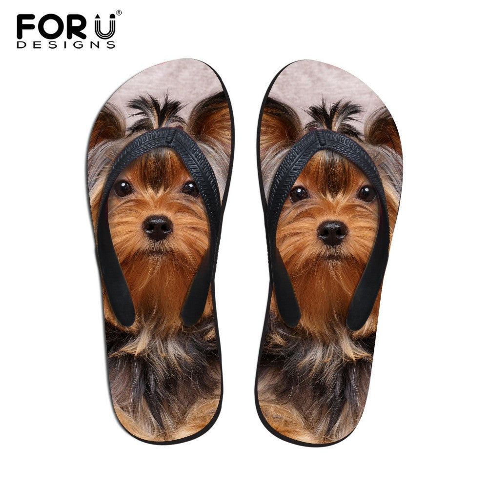Sale Fashion Summer Beach Flip Flops Women Cute 3D Pet