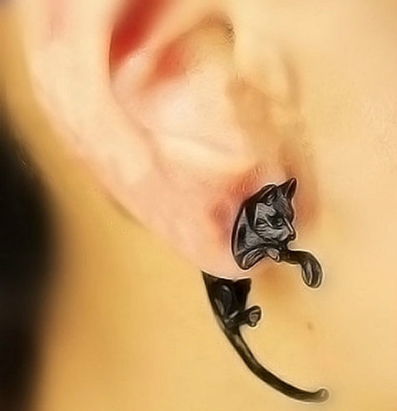 Leopard Cat Puncture Earrings