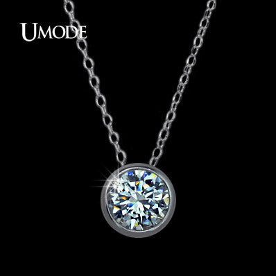Small Round 1 carat Cubic Zirconia Solitaire Pendant Necklace