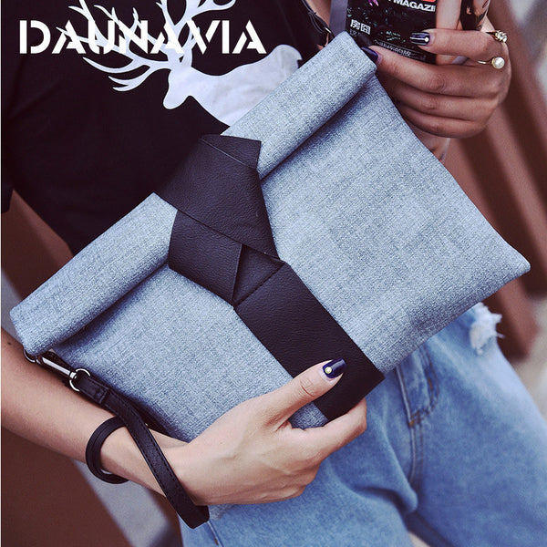 Fashion Leather Clutch Envelope Bag with Bow