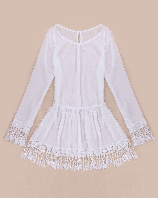 Women Boho Tassel Lace Dress (S-XXXL)