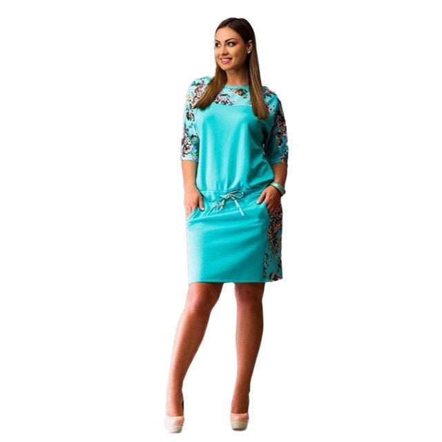 Bright Colored Summer Floral Party Dress (S-6XL)